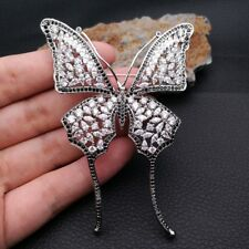 Clear Cz Pave Butterfly Brooch