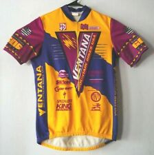 Aussie Ventana Mountain Bikes Half Zipper Cycling Jersey Men's L Pink Yellow VTG