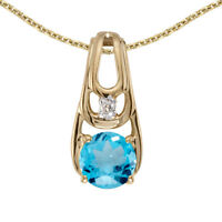 "10k Yellow Gold Round Blue Topaz And Diamond Pendant with 16"" Chain"