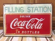 Coca Cola Filling Service Station Embossed Metal Sign Garage Shop Man Cave Coke