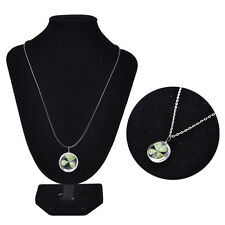 Real Green Lucky Shamrock Four Leaf Clover Round PendantNecklaces Friend GiftsMD