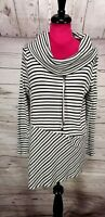 Zenergy By Chicos Cowl Neck Tunic Top Long Sleeve Sz 0 Black White Draw String