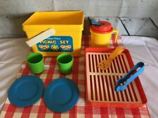 VTG Fisher Price 1985 Picnic Set Summer Fun w/ Extra Dishes Cups & Utensels