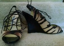 $1195 MANOLO BLAHNIK  Mania Tiger STINGRAY EXOTIC Lace Up Open Toe Wedge, NEW 38