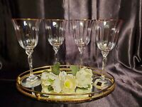 Oneida Crystal Chateau Gold Rim Wine / Water Glass Goblet - Set of 4