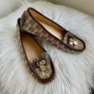 MICHAEL KORS Crawford Size 8 Brown Moc Slip-On Women's Fashion Shoes