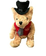 Crown Towers Hotel Australia Collectable Teddy Bear Black Hat Red Vest