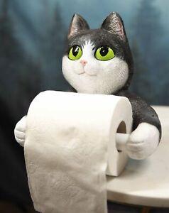 Whimsical Black White Kitten Cat Toilet Paper Roll Holder Bathroom Wall Decor