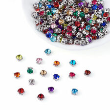 200pcs Mixed Acrylic Rhinestone Rose Montee Beads 5-Hole Cup Findings 5x5x4mm