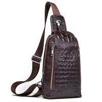 Men's Sling Backpack ,Genuine Leather Crossbody Bag Crocodile Daypack for Hiking