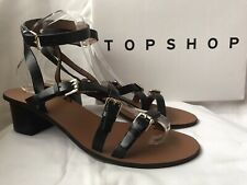 New TOPSHOP Black Leather Strappy Sandals - UK Size 8 / EU 41 - BNIB - RRP £46
