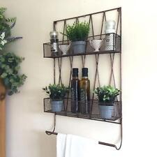 Vintage Style Kitchen Wall Shelf Unit Storage Basket Spice Rack Towel Rail Metal