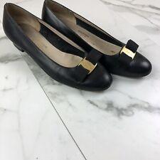Salvatore Ferragamo Boutique Vara Bow Navy Blue Leather Heel Pump Shoes Sz 8.5