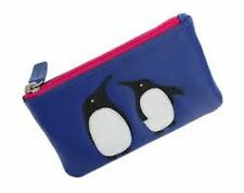 Blue Leather Zip Top Coin Pocket Purse with Ollie the Penguin Applique by Mala