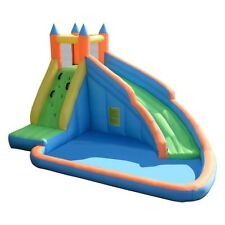 Inflatable Mighty Bounce House Jumper with Water Slide Outdoor Kids Play Toy