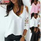 Women's Cold Shoulder T-shirt Blouse Ladies Lace Short Sleeve Casual Tunic Tops