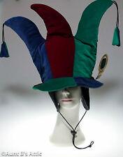Jester Hat 3 Point Green Burgundy & Blue Velour Mardi Gras Costume Hat