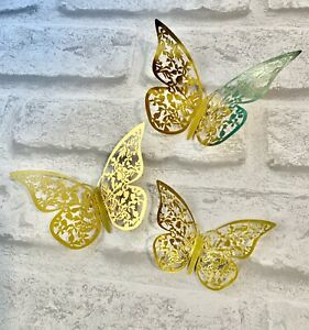 6 Gold Butterfly Decorations … Cake Topper , Cupcake .. Party