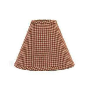 Lamp Shade 12 inch Barn Red & Tan Gingham Check Primitive Decor Ring Clip Style