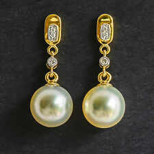 PEARL EARRINGS 9.7mm CULTURED SOUTH SEA PEARLS GENUINE DIAMONDS 18K 750 GOLD NEW
