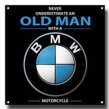 Never Underestimate an Alt Mann mit einem BMW Motorrad Metall SIGN.20.3cmX20.3cm