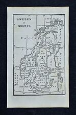 1830 Nathan Hale Map - Sweden Norway Finland Stockholm Oslo Christiansand Baltic