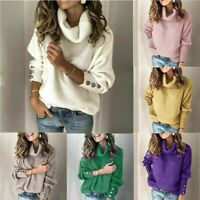 Women's US Tops Long Knitted Sleeve Autumn Jumper Sweater Knitwear Cardigans