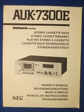 New listing Nec Auk-7300E Authentic Cassette Owners Manual Factory Original The Real Thing