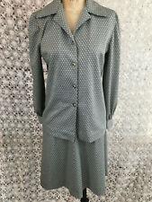 Vintage 60s/70s 3 Piece Secretary Suit Skirt Blouse Pants Set Gray Poly S/M