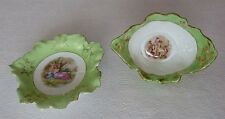 Vintage Pair Fancy Dishes Green Victoria Austria Round Oval Scalloped Edged Gold