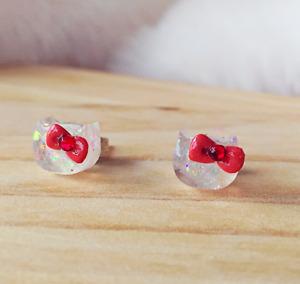 Hello Kitty Earrings Rhinestone Earrings Cat Resin Earrings Handmade Earrings