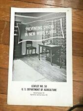 Vtg Preventing Cracks New Wood Floor US Department of Agriculture Pamphlet  A60