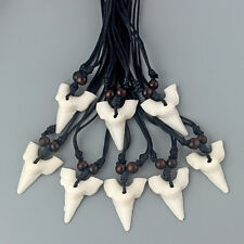 Wholesale 12Pcs White Faux Shark Tooth/Teeth Charm Pendant Necklace Adjustable