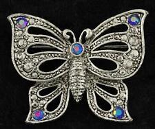Vintage Costume Jewelry Silver Tone Blue Rhinestone AAI Butterfly Brooch Pin