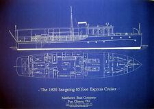 Classic 1920 Matthews Yacht 65 Great Lakes Cruiser 18x28  (172)