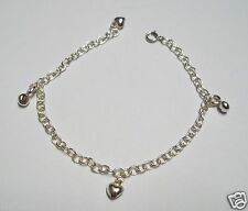 MRE * 925 Sterling Silver Bracelet with Heart and Circle Charms