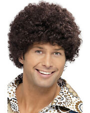 Adult 70s Curly Afro Retro Disco Dude Brown Wig Costume Accessory