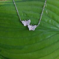 Schmetterlinge Anhänger + Kette Exklusiv Echt 925 Sterling Silber Zirkonia