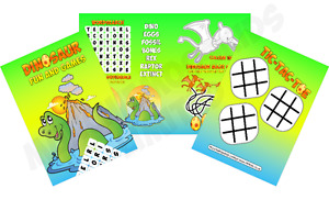 Pack of 12 - Dinosaur Fun and Games Activity Sheets - Party Bag Books Fillers
