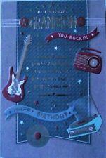 MALE BIRTHDAY CARD - GRANDSON - GUITAR, VINTAGE RADIO & RECORD PLAYER (308)