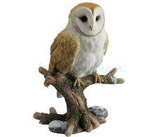 Barn Owl Perching on Branch Statue Sculpture Figure - GIFT BOXED