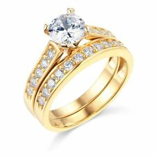 1.75ct Solid 14k Yellow Gold Highe Quality  Bridal Engagement Ring Matching band