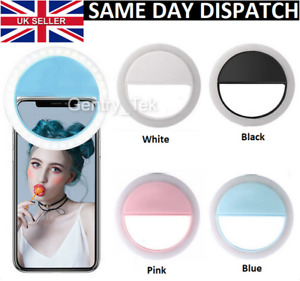 Rechargeable LED Selfie Ring Light Camera Flash Fill Clip for Phones Tablets PC