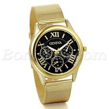 Men's Luxury  Gold Tone Steel Mesh Band Roman Numberals Dial Quartz Wrist Watch