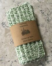 Crocheted Dish Cloths Wash Cloths Handmade Green White Cotton Ribbed Set of 2