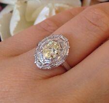 1.09 ct Light Fancy Yellow Diamond w/ Baguette Diamonds in Platinum-HM1420
