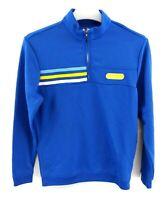 ADIDAS GOLF Boys Jumper Sweater M Medium Blue Polyester 1/4 Zip