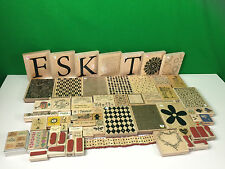 HUGE Stampin Up Wood Wooden Rubber Stamp Lot Letters Fish Flowers Patterns Etc