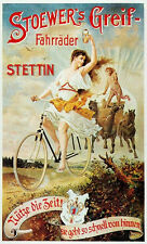"""1901 Bicycle Poster Stoewer""""s Grief Fahrrader 11 x 19 Giclee print"""
