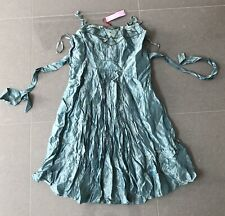 New Monsoon Dress UK 18 Green Viscose Acetate Silk Lining Eur 46 Sequined